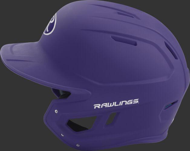 MACH Rawlings batting helmet with a one-tone matte purple shell
