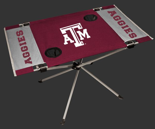 NCAA Texas A&M Aggies Endzone table featuring team colors, logos and two cup holders SKU #04053061111