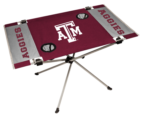 NCAA Texas A&M Aggies Endzone table featuring team colors, logos and two cup holders