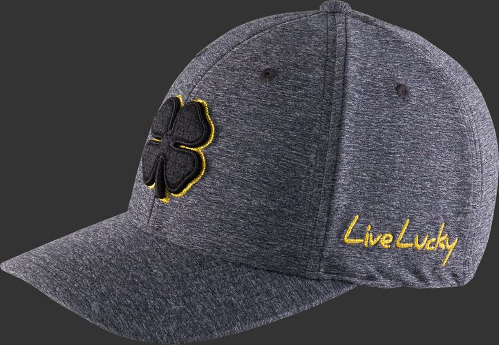 "Left angle view of a heather grey Rawlings Black Clover Gold Glove fitted hat with ""Live Lucky"" in gold - SKU: BC0GC00071"