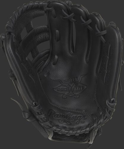 Palm view of a SPL112CS Rawlings Corey Seager youth baseball glove with a black palm and black laces