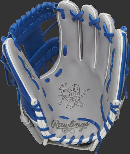 Grey palm of a Rawlings HOH infield glove with a royal web and laces - SKU: PRO204-2GR