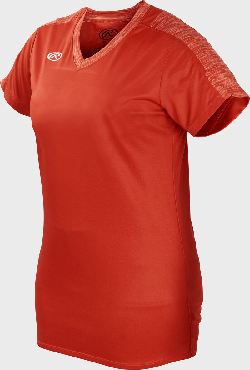 Front of Rawlings Women's Bright Orange Adult Short Sleeve Launch Jersey  - SKU #WLNCHJ-BO