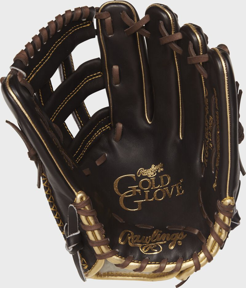RGG3039-6MO 12.75-inch Rawlings Gold Glove baseball glove with a mocha palm and chocolate brown laces