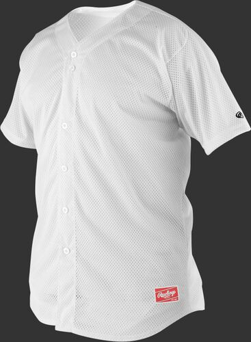 Front of Rawlings White Youth Short Sleeve Jersey  - SKU #YBJ167