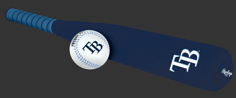Side of Rawlings Tampa Bay Rays Foam Bat and Ball Set in Team Colors With Team Name and Logo On Front SKU #01860009111