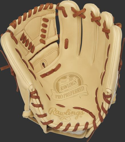 Camel palm of a Rawlings Pro Preferred infield/pitcher's glove with a camel web and tan laces - SKU: PROS205-30C