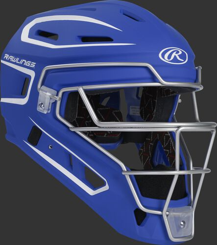 Front right of a royal CHV27J Rawlings Velo 2.0 catcher's helmet
