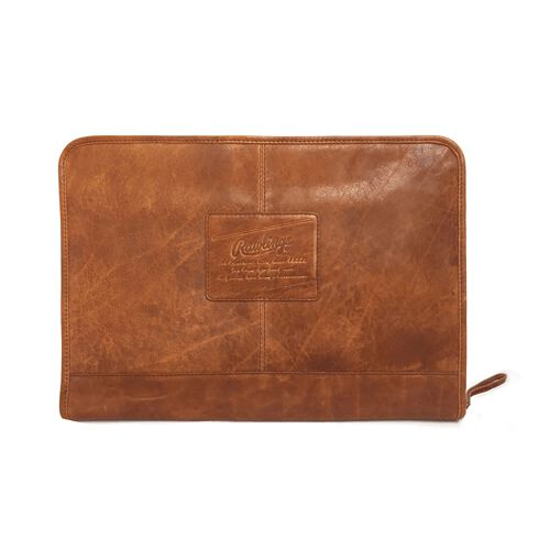 A tan rugged portfolio with a leather Rawlings patch logo in the middle - SKU: V614-202