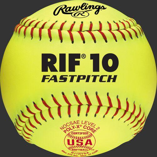 "A USA RIF 11"" softball with red stitching and a red USA softball stamp - SKU: R11RYSA"