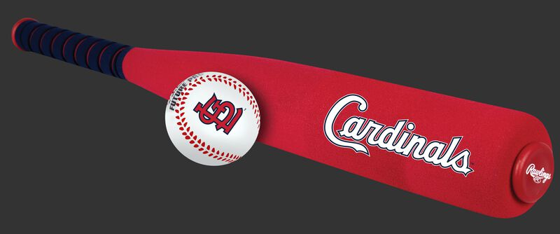 Side of Rawlings St. Louis Cardinals Foam Bat and Ball Set in Team Colors With Team Name On Front SKU #01860007111