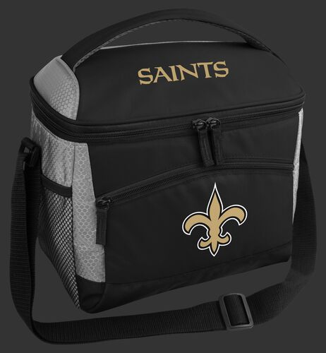 A black New Orleans Saints 12 can soft sided cooler with a team logo on the front - SKU: 10111077111