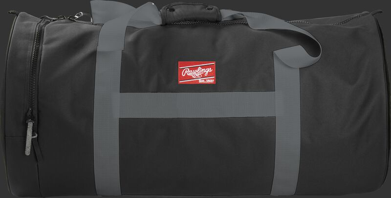 A black Throwback XL duffle bag with gray straps and a red Rawlings patch - SKU: THRBXL-B