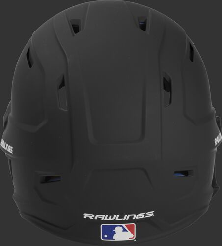Back of a MACHEXTL high performance junior MACH helmet with a matte black shell and Official Batting Helmet of MLB logo