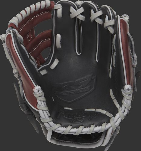R9TR Rawlings R9 training glove with a black palm and grey laces
