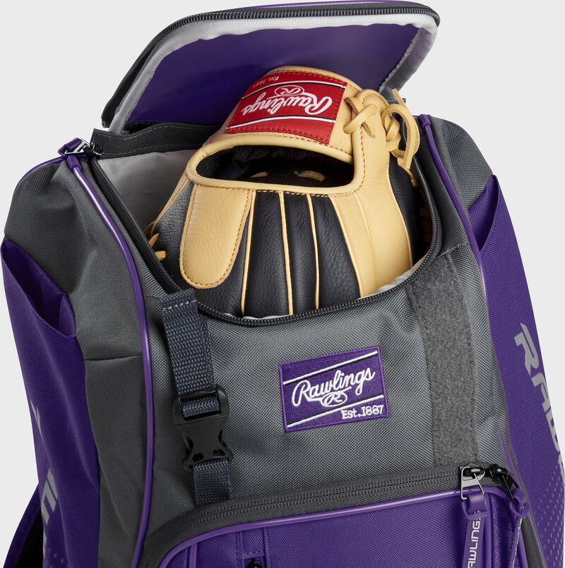 A Rawlings baseball glove in the top compartment of a Franchise baseball backpack - SKU: FRANBP-PU