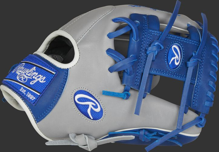 Thumb of a grey/royal 2021 Heart of the Hide 11.5-Inch infield glove with a royal I-web - SKU: PRO204-2GR
