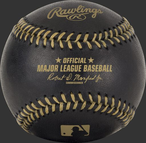 An official MLB black baseball with gold stitching - SKU: EA-ROMLBBG