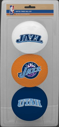 Rawlings White, Brown, and Navy NBA Utah Jazz Three-Point Softee Basketball Set With Team Logo SKU #03524217114