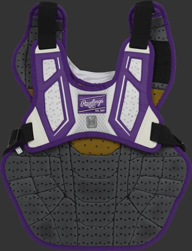 Back harness of a purple/white CPV2N intermediate Velo 2.0 chest protector with Dynamic Fit System 2.0