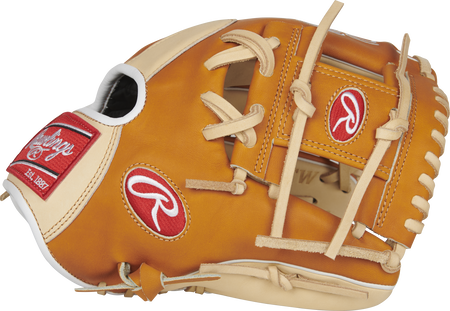 Thumb view of a PROR204-2CTW Heart of the Hide R2G 11.5-inch infield glove with a tan thumb and tan I web