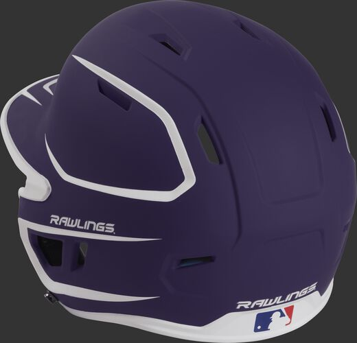 Back left view of a matte purple/white MACH series batting helmet with air vents