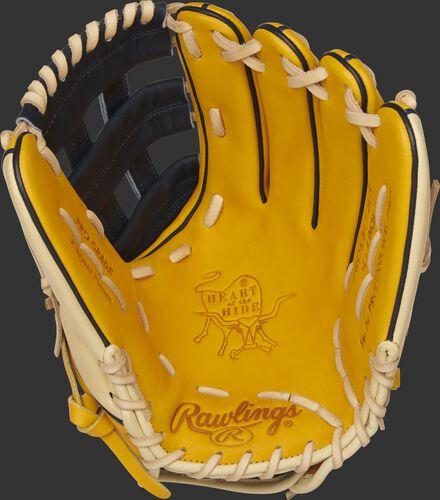 PROKB17-6GT Rawlings Heart of the Hide infield glove with a gold tan palm, navy web and camel laces