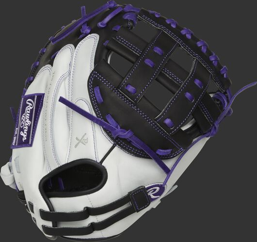 RLACM33FPPU 33-inch Liberty Advanced catcher's mitt with a white back and adjustable pull strap