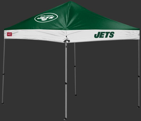 A green/white New York Jets 9x9 shelter with a team logo on the left side - SKU: 03231079113