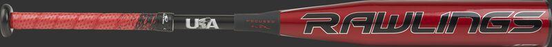 Red barrel of a USZQ12 -12 USA Quatro Pro bat with black/silver accents