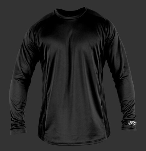Front of Rawlings Black Adult Long Sleeve Shirt - SKU #LSBASE
