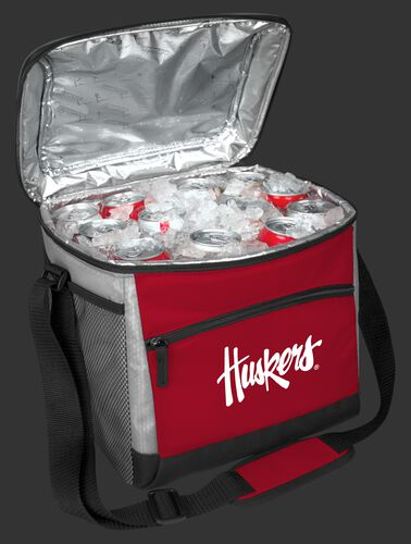 An open Nebraska Cornhuskers 24 can cooler filled with ice and drinks - SKU: 10223089111