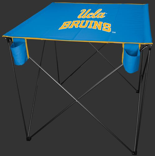 A blue NCAA UCLA Bruins bar height tailgate table with the Bruins logo in the middle - SKU: 10063065511