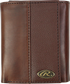 A brown RW80003-200 Bases loaded tri-fold wallet folded closed with a silver Oval R emblem in the bottom right corner image number null