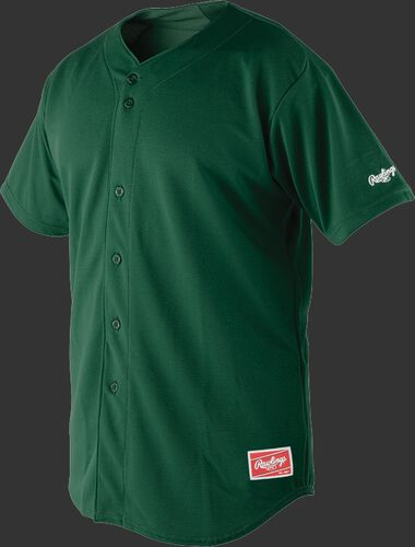 Front of Rawlings Dark Green Adult Short Sleeve Jersey  - SKU #RBJ150