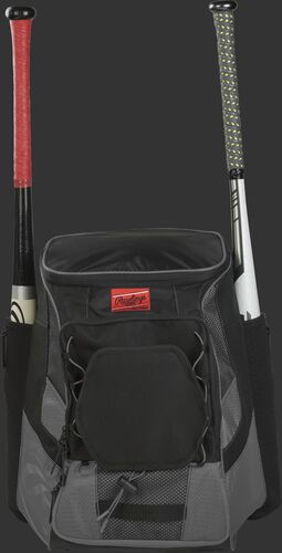Front of a gray/black R600 Rawlings players team backpack with a bat in each of the side compartments