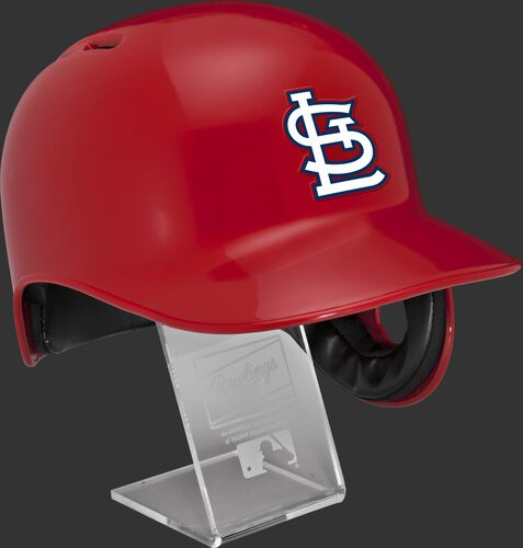 Right angle view of a MLBRL-STL St. Louis Cardinals replica helmet on a display stand