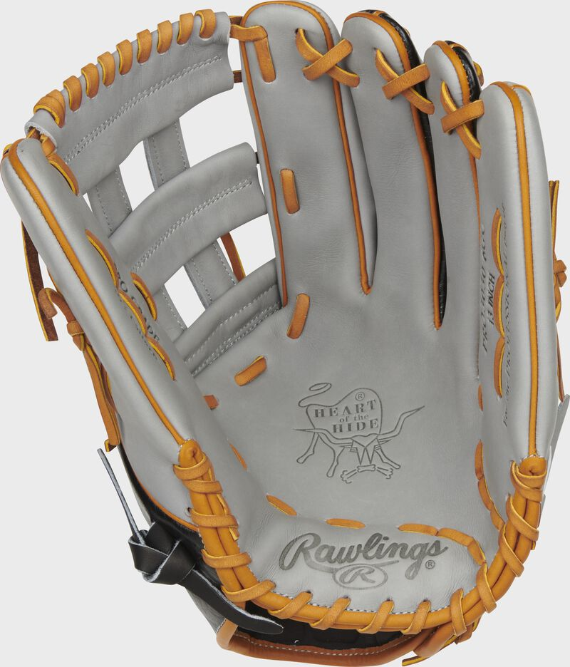 Gray palm of a Rawlings Heart of the Hide ColorSync 5.0 outfield glove with gray web, and orange laces - SKU: PRO3030-6GC