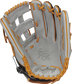 Gray palm of a Rawlings Heart of the Hide ColorSync 5.0 outfield glove with gray web, and orange laces - SKU: PRO3030-6GC image number null