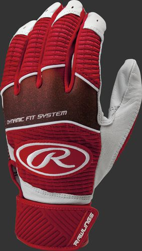A scarlet WH950BG-S adult Workhorse batting glove