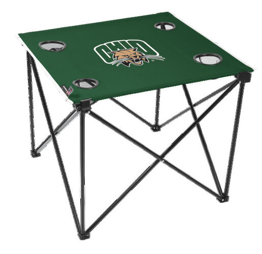 Rawlings Green NCAA Ohio Bobcats Deluxe Tailgate Table With Four Cup Holders and Team Logo Printed In The Middle SKU #00714410111