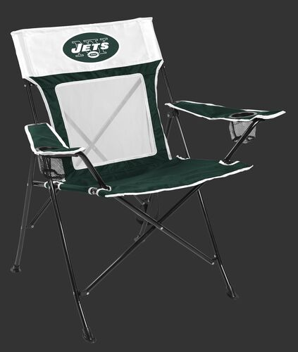 Front of Rawlings Green and White NFL New York Jets Game Changer Chair With Team Logo SKU #00651079111