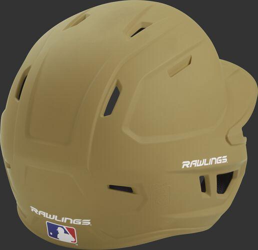 Back right of a one-tone matte Vegas gold MACH Rawlings batting helmet