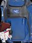 Wallet, keys, and batting gloves in the front valuables pocket of a royal Franchise baseball bag - SKU: FRANBP-R image number null
