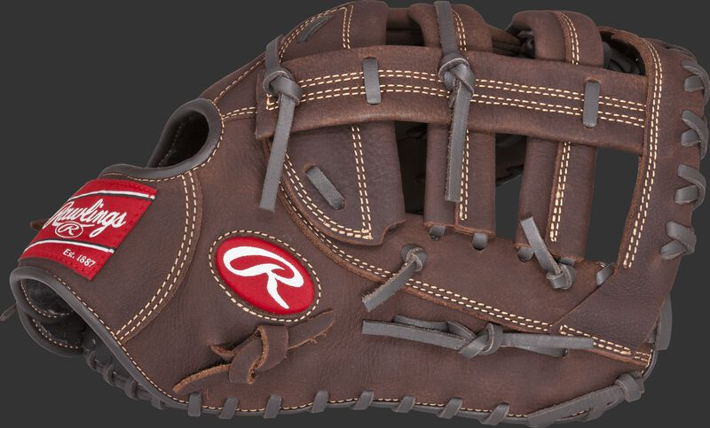 Thumb view of a brown PFBDCT Player Preferred 12.5-inch first base mitt with a brown Single Post Double Bar web
