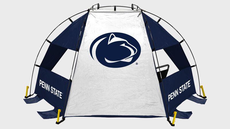 Back of a Penn State Nittany Lions sideline sun shelter
