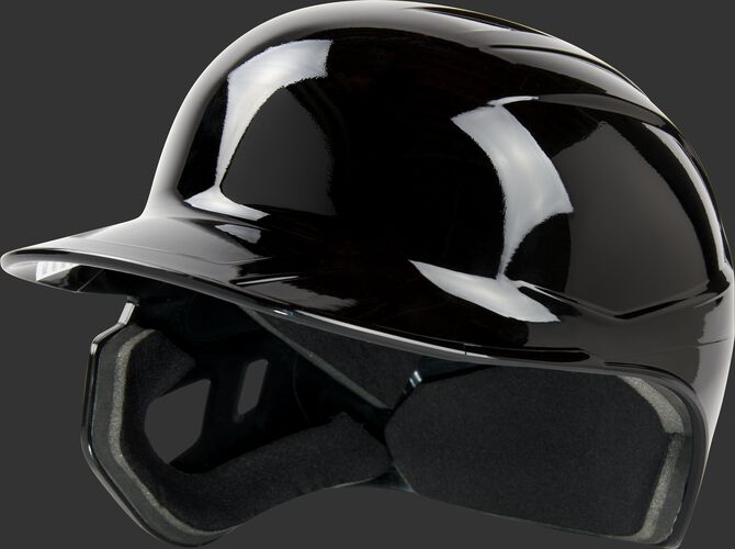 Front angle of a Mach single ear batting helmet for a left handed batter - SKU: MSE01A-LHB