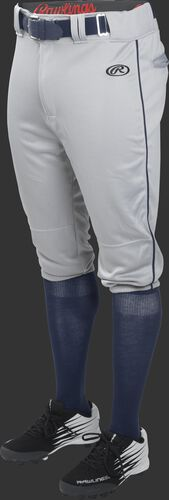Front of Rawlings Blue Gray/Navy Adult Launch Piped Knicker Baseball Pant - SKU #LNCHKPP-BG/B-88