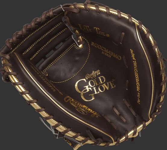 RGGCM43MO Rawlings Gold Glove series catcher's mitt with a mocha palm and chocolate brown laces
