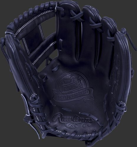 Black palm of a Rawlings Pro Preferred infield glove with a black web and black laces - SKU: PROS1150KB